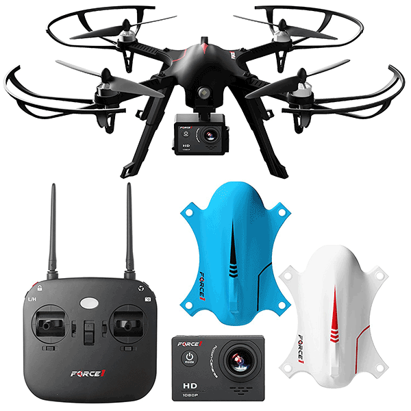 Force1 F100 Ghost Drone with Camera - Compatible Go Pro Drone with Brushless Motors and 2 Batteries and 2 Shells